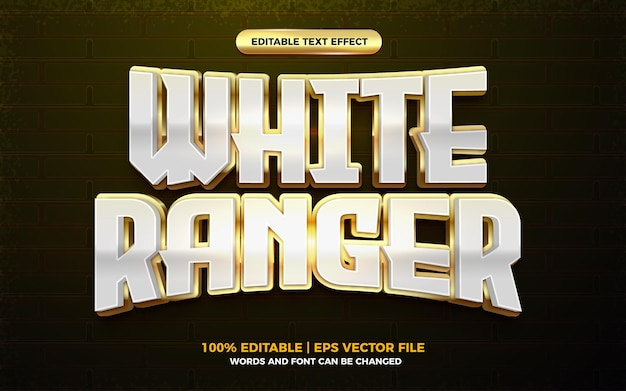 Efeito de texto editável de herói de desenho animado 3d ranger branco dourado
