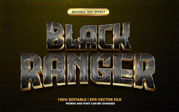 Efeito de texto editável de herói de desenho animado 3d ranger preto dourado