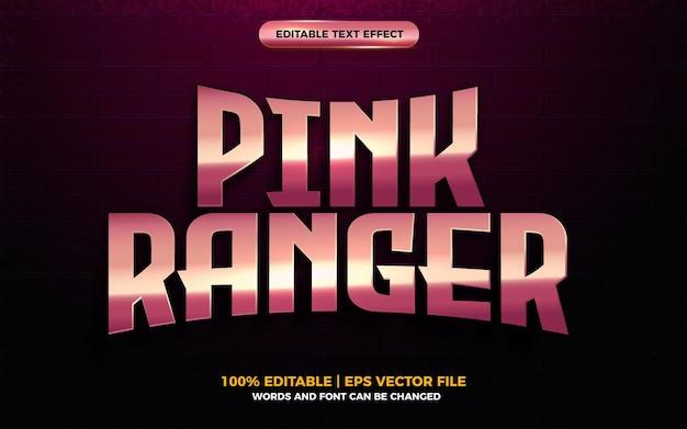 Efeito de texto editável de herói de desenho animado 3d rosa ranger ouro