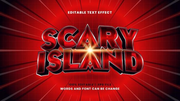 Efeito de texto editável de ilha assustadora em estilo 3d moderno