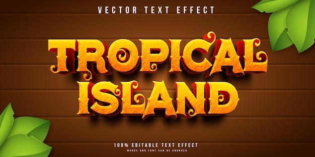 Efeito de texto editável de ilha tropical