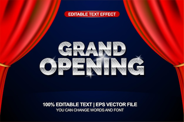 Efeito de texto editável de inauguração com elemento de fundo de cortina vermelha