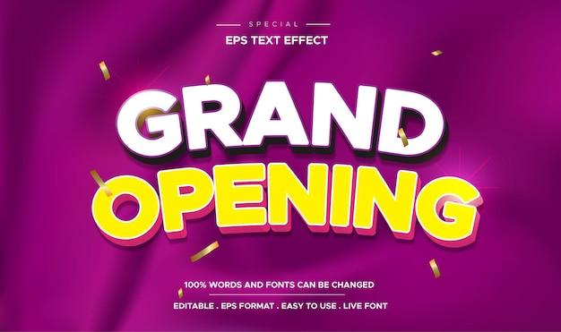 Efeito de texto editável de inauguração