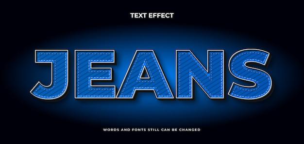 Efeito de texto editável de jeans com textura. estilo de texto elegante