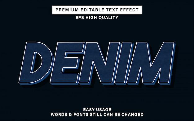 Efeito de texto editável de jeans