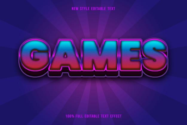 Efeito de texto editável de jogos cor púrpura