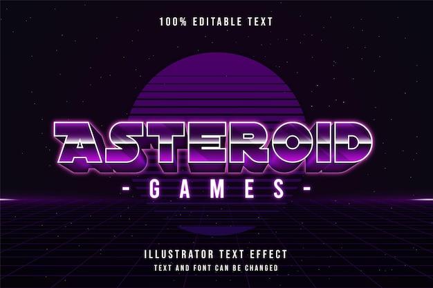 Efeito de texto editável de jogos de asteróides com gradação roxa