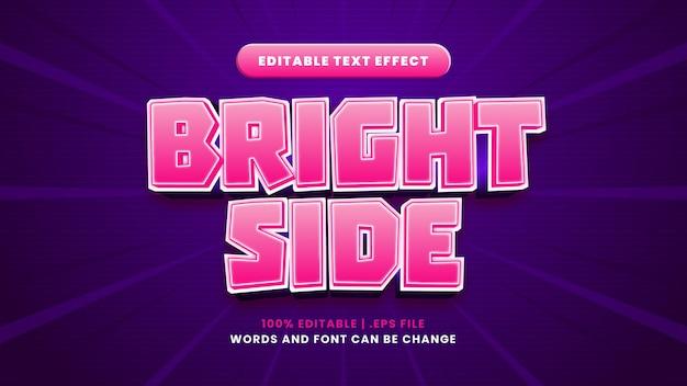 Efeito de texto editável de lado brilhante em estilo 3d moderno