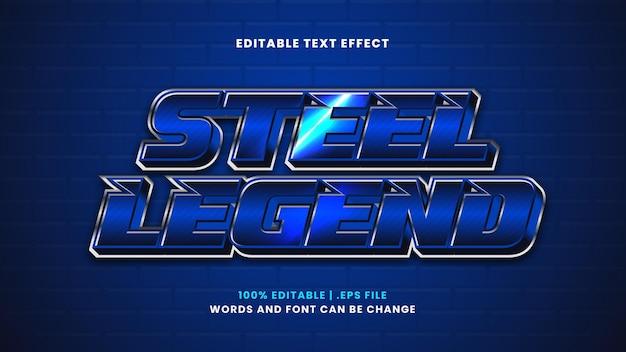 Efeito de texto editável de legenda de aço em estilo 3d moderno