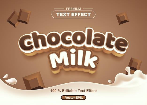 Efeito de texto editável de leite com chocolate