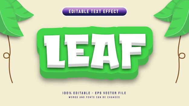 Efeito de texto editável de letra de folha com estilo de desenho em 3d com modelo de ilustração vetorial de ornamento de folha