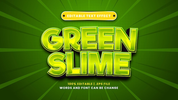Efeito de texto editável de limo verde em estilo 3d moderno