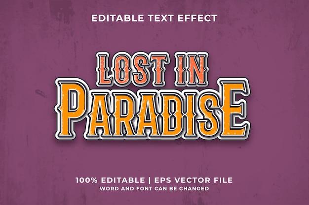Efeito de texto editável de lost in paradise vintage estilo de modelo 3d premium vector