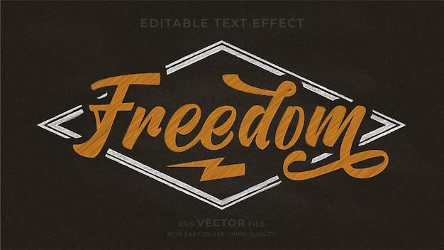 Efeito de texto editável de lousa de tipografia freedom Vetor Premium