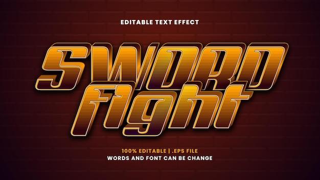 Efeito de texto editável de luta de espadas em estilo 3d moderno