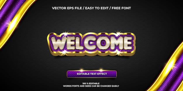 Efeito de texto editável de luxo bem-vindo estilo de texto 3d dourado