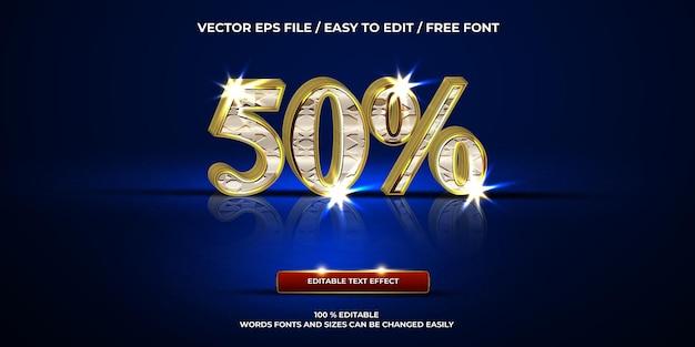 Efeito de texto editável de luxo com estilo de texto 3d cromado 50%