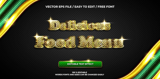 Efeito de texto editável de luxo delicioso menu de comida ouro estilo de texto 3d