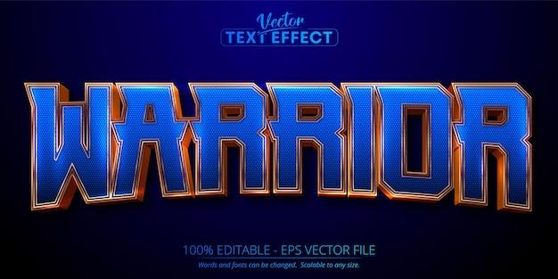 Efeito de texto editável de luxo dourado de texto guerreiro em fundo texturizado azul escuro