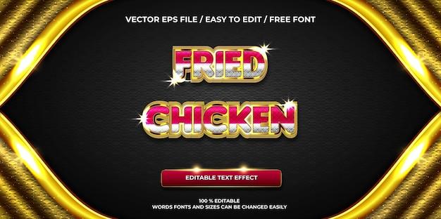 Efeito de texto editável de luxo estilo de texto 3d de frango frito