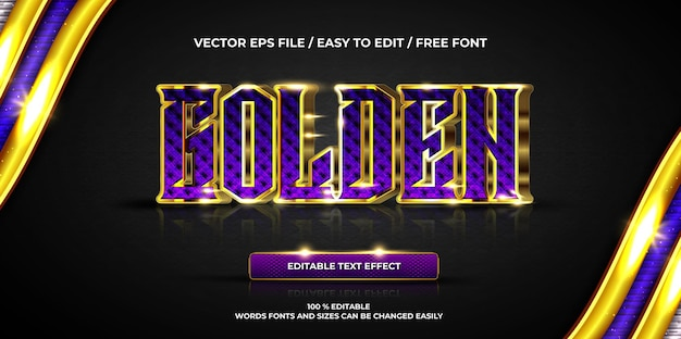 Efeito de texto editável de luxo estilo de texto 3d dourado