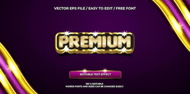 Efeito de texto editável de luxo estilo de texto 3d premium ouro
