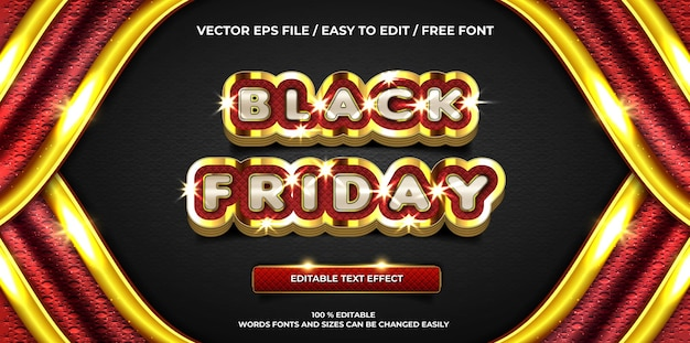 Efeito de texto editável de luxo estilo texto 3d preto sexta-feira dourada