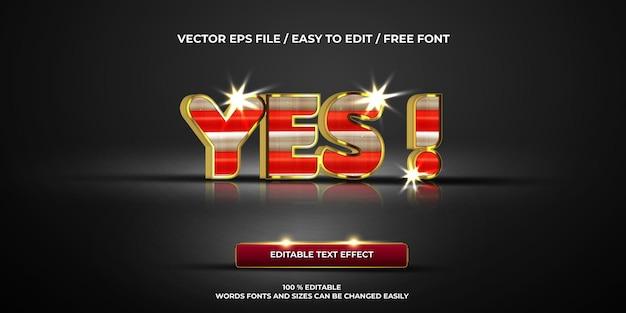 Efeito de texto editável de luxo, sim! estilo de texto 3d
