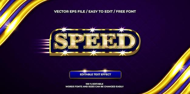Efeito de texto editável de luxo velocidade ouro estilo de texto 3d