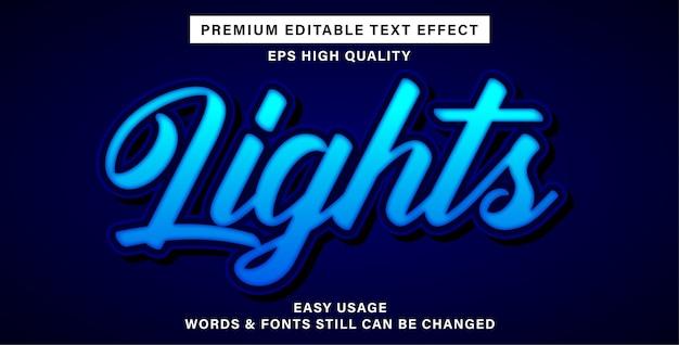 Efeito de texto editável de luzes