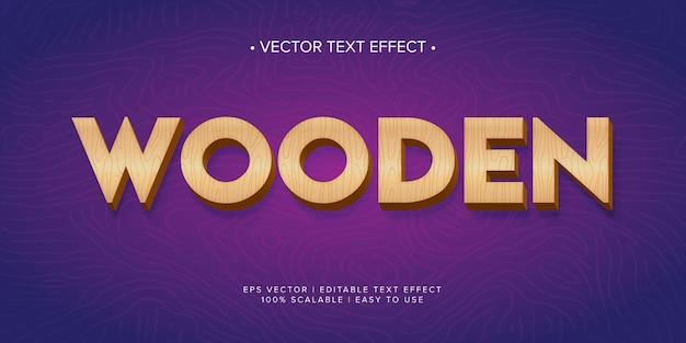 Efeito de texto editável de madeira vintage