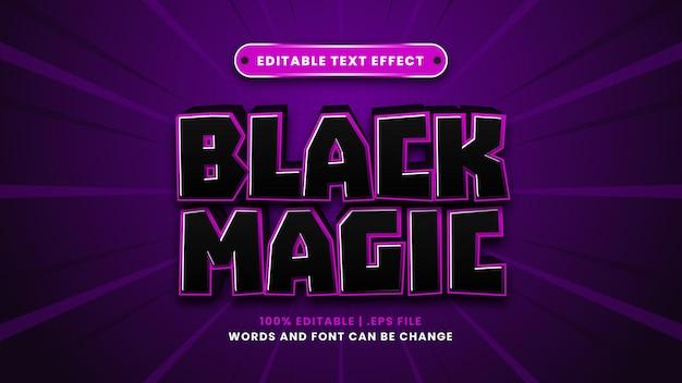 Efeito de texto editável de magia negra em estilo 3d moderno
