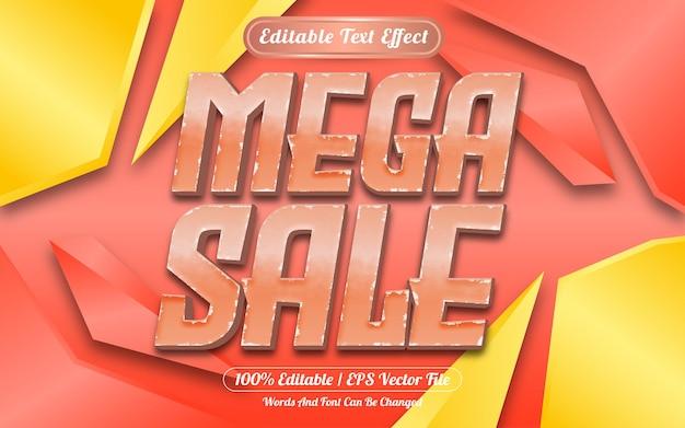 Efeito de texto editável de mega venda com fundo abstrato