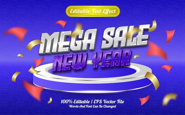 Efeito de texto editável de mega venda de ano novo