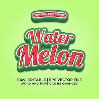 Efeito de texto editável de melancia fresca vetor premium