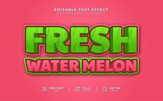 Efeito de texto editável de melão de água doce
