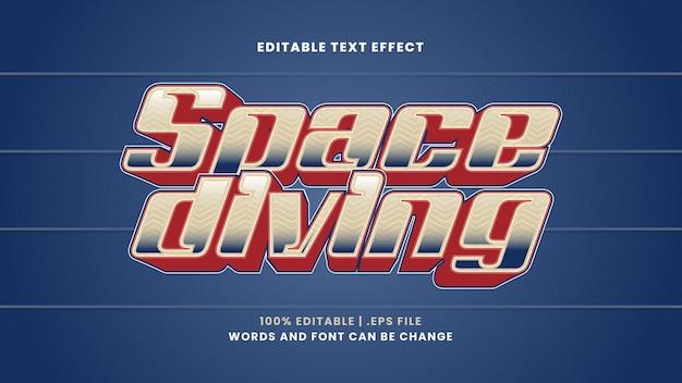 Efeito de texto editável de mergulho espacial em estilo 3d moderno