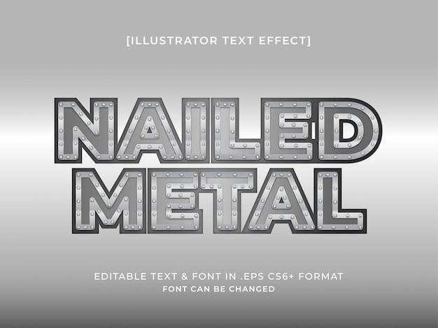 Efeito de texto editável de metal pregado brilhante