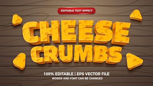 Efeito de texto editável de migalhas de queijo estilo cartoon 3d