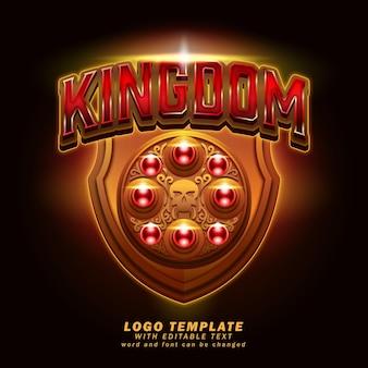 Efeito de texto editável de modelo de logotipo do reino em vetor eps