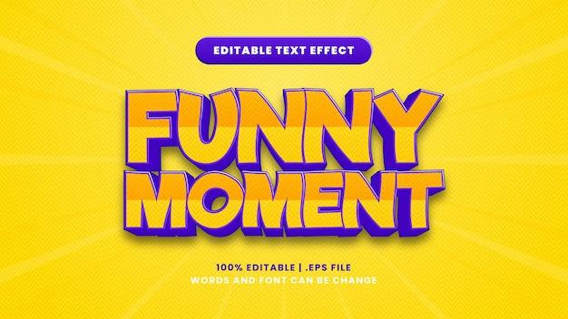 Efeito de texto editável de momento engraçado em estilo 3d moderno