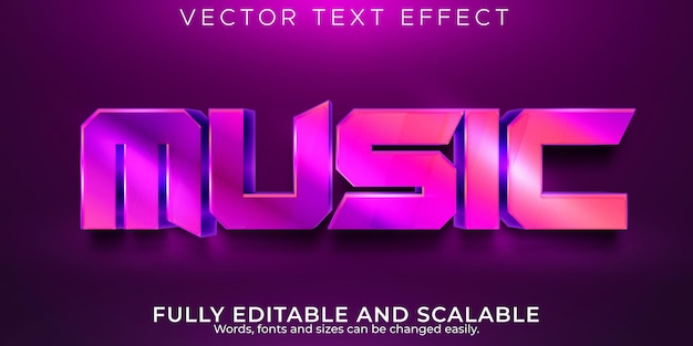 Efeito de texto editável de música, texto brilhante e elegante