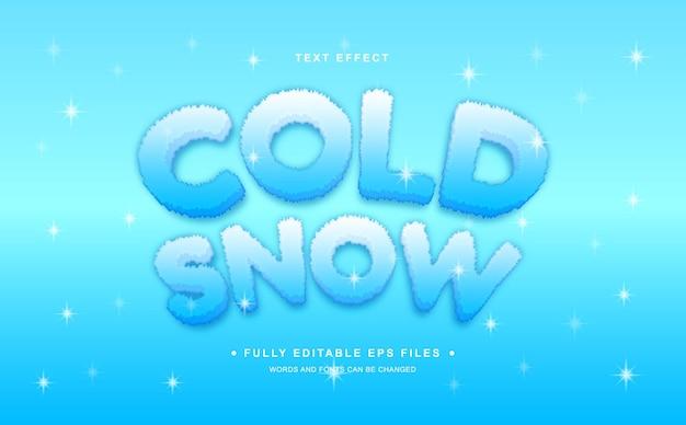 Efeito de texto editável de neve fria