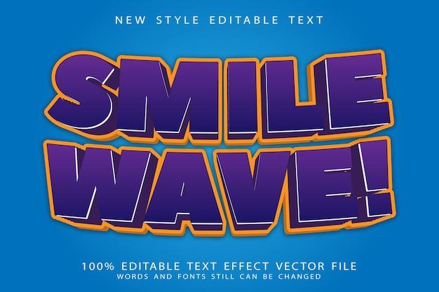 Efeito de texto editável de onda de sorriso em relevo estilo cômico