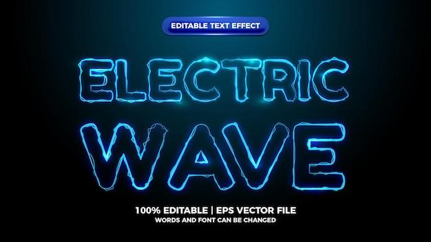 Efeito de texto editável de onda elítrica azul