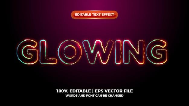 Efeito de texto editável de onda elítrica colorida brilhante