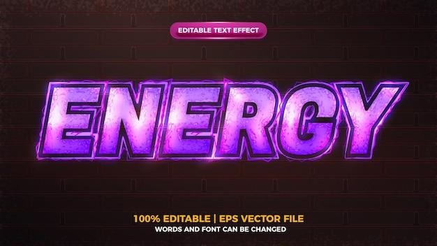 Efeito de texto editável de onda elítrica de energia de parafuso roxo