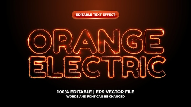 Efeito de texto editável de onda elítrica laranja