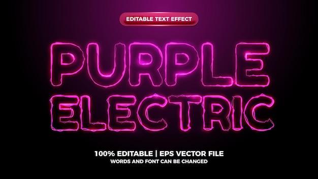 Efeito de texto editável de onda elítrica roxa