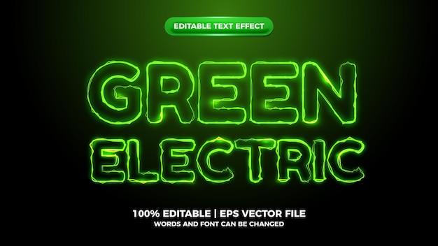 Efeito de texto editável de onda elítrica verde